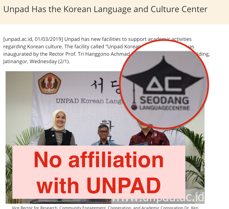 [Notice] No affiliations with Padjadjaran University